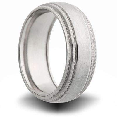 Titanium 8mm Double Milgrain Pipe Cut Ring