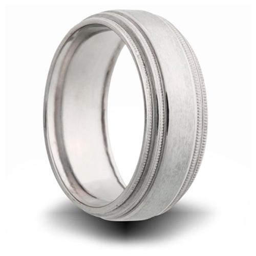 Titanium 8mm Double Milgrain Pipe Cut Ring