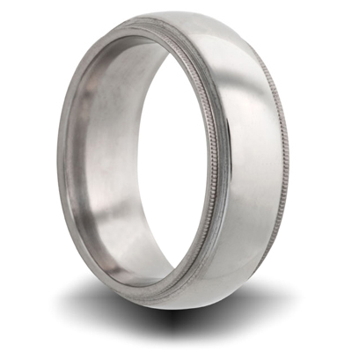 Titanium 8mm Milgrain Domed Ring