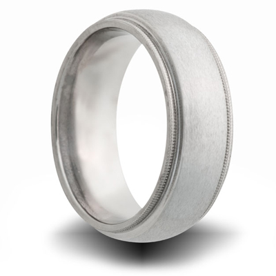 Titanium 8mm Milgrain Domed Ring with Brushed Finish