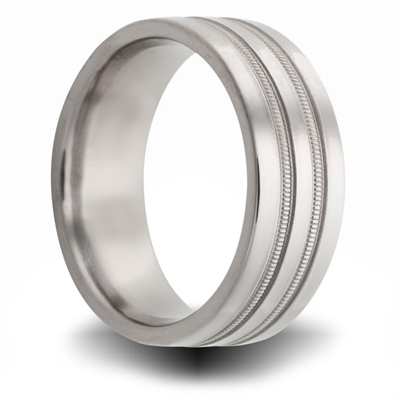 Titanium 8mm Ring with Beaded Grooves