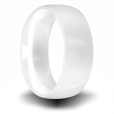 White Ceramic 8mm Domed Ring