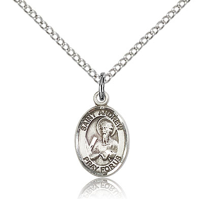 Sterling Silver 1/2in St Andrew Charm & 18in Chain