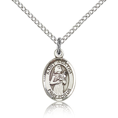 Sterling Silver 1/2in St Agatha Charm & 18in Chain
