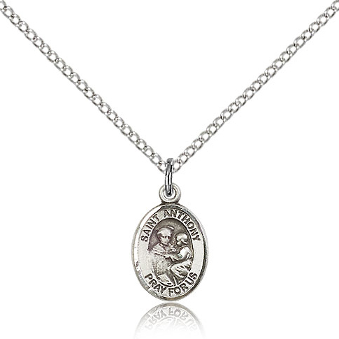 Sterling Silver 1/2in St Anthony Pray For Us Charm & 18in Chain