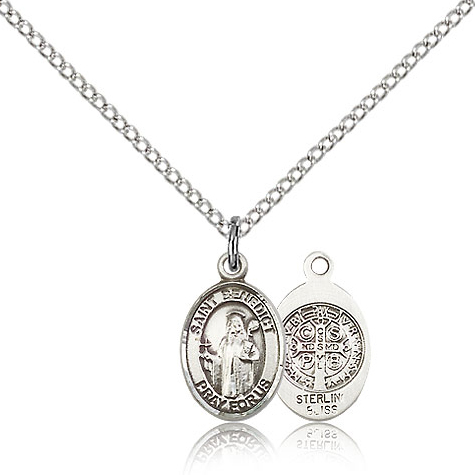 Sterling Silver 1/2in St Benedict Charm & 18in Chain