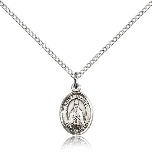 Sterling Silver 1/2in St Blaise Charm & 18in Chain