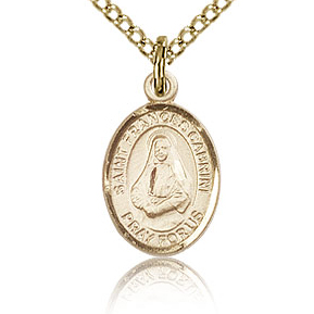 Gold Filled 1/2in St Frances Cabrini Charm & 18in Chain
