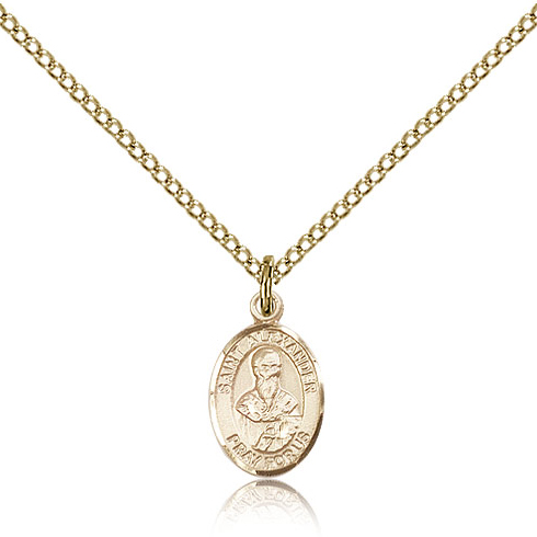 Gold Filled 1/2in St Alexander Charm & 18in Chain