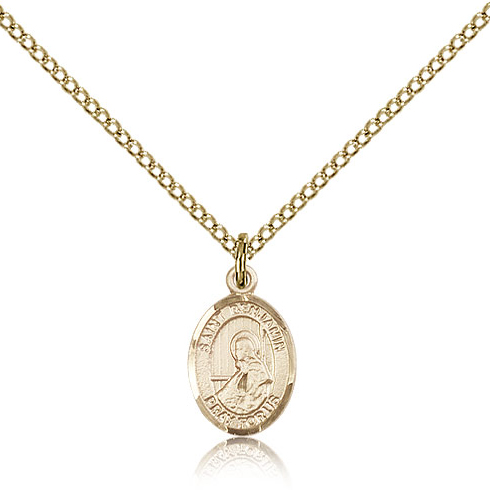 Gold Filled 1/2in St Benjamin Charm & 18in Chain