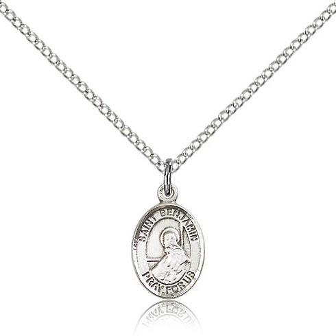 Sterling Silver 1/2in St Benjamin Charm & 18in Chain