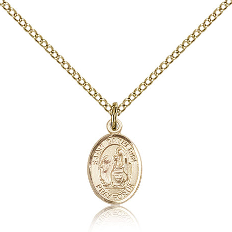 Gold Filled 1/2in St Catherine of Siena Charm & 18in Chain