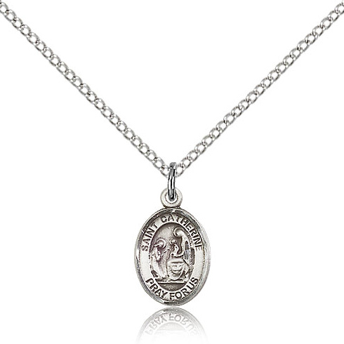 Sterling Silver 1/2in St Catherine of Siena Charm & 18in Chain