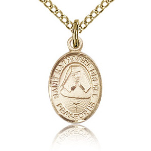 Gold Filled 1/2in St Katharine Drexel Charm & 18in Chain