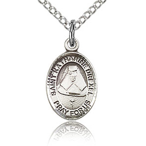 Sterling Silver 1/2in St Katharine Drexel Charm & 18in Chain