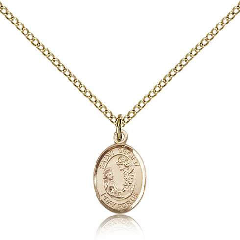 Gold Filled 1/2in St Cecilia Charm & 18in Chain