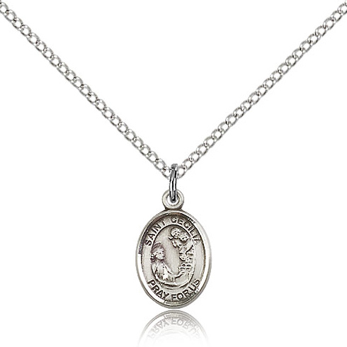 Sterling Silver 1/2in St Cecilia Charm & 18in Chain