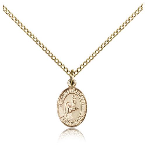 Gold Filled 1/2in St Bernadette Charm & 18in Chain