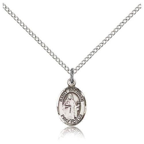 Sterling Silver 1/2in St Brendan Charm & 18in Chain
