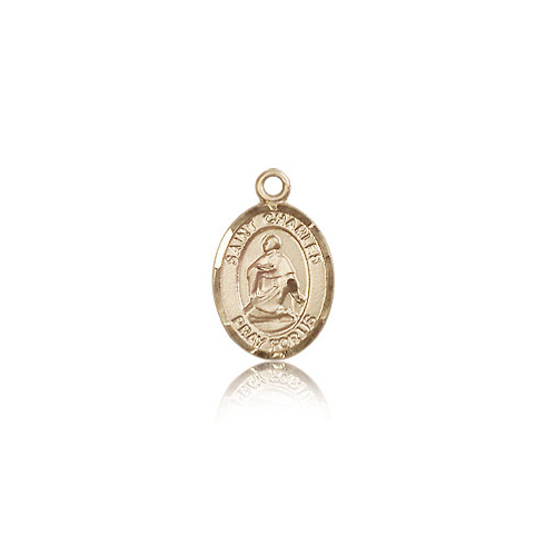 14kt Yellow Gold 1/2in St Charles Medal