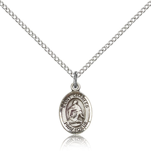 Sterling Silver 1/2in St Charles Charm & 18in Chain