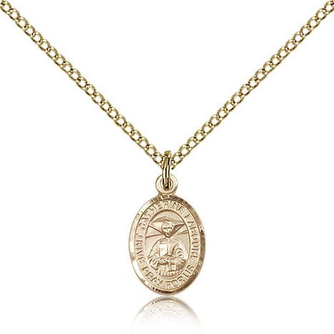 Gold Filled 1/2in St Catherine Laboure Charm & 18in Chain