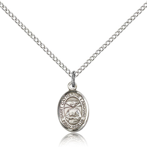 Sterling Silver 1/2in St Catherine Laboure Charm & 18in Chain