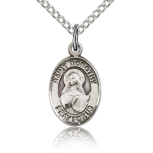 Sterling Silver 1/2in St Dorothy Charm & 18in Chain