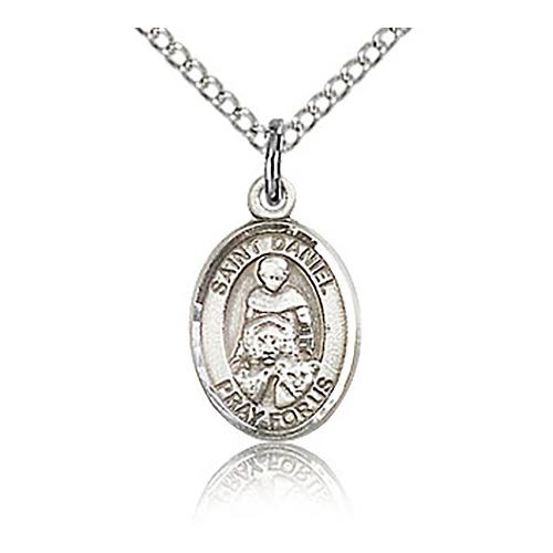 Sterling Silver 1/2in St Daniel Charm & 18in Chain