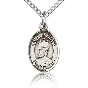 Sterling Silver 1/2in St Edward Charm & 18in Chain