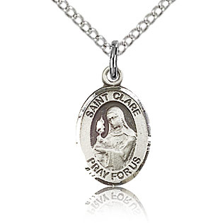 Sterling Silver 1/2in St Clare Charm & 18in Chain