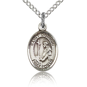 Sterling Silver 1/2in St Dominic Charm & 18in Chain