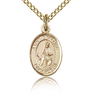 Gold Filled 1/2in St Dymphna Charm & 18in Chain