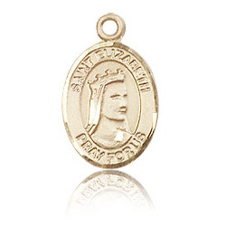 14kt Yellow Gold 1/2in St Elizabeth Medal