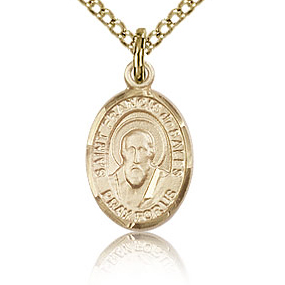Gold Filled 1/2in St Francis de Sales Charm & 18in Chain