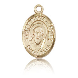 14kt Yellow Gold 1/2in St Francis de Sales Charm