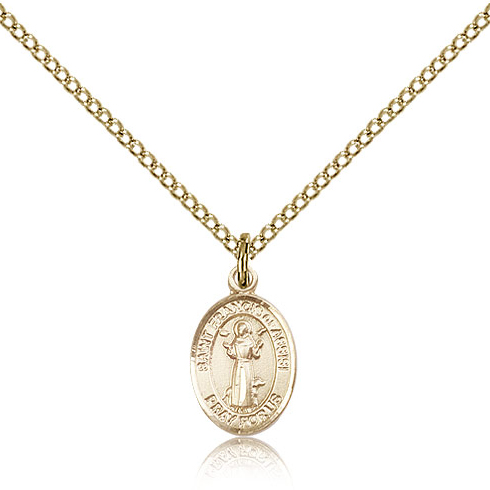 Gold Filled 1/2in St Francis Charm & 18in Chain