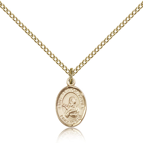 Gold Filled 1/2in St Francis Xavier Charm & 18in Chain