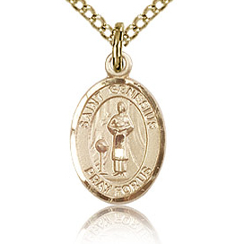 Gold Filled 1/2in St Genesius Charm & 18in Chain