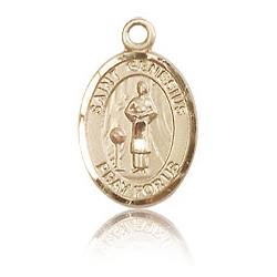 14kt Yellow Gold 1/2in St Genesius Charm
