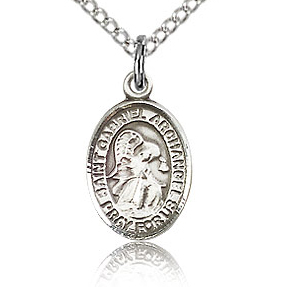 Sterling Silver 1/2in St Gabriel Charm & 18in Chain