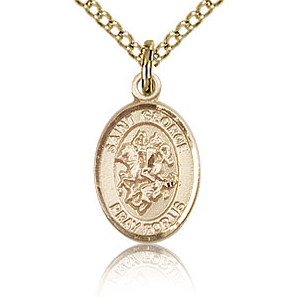 Gold Filled 1/2in St George Charm & 18in Chain