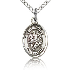 Sterling Silver 1/2in St George Charm & 18in Chain