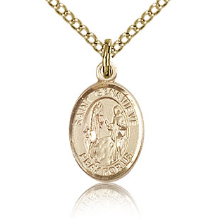 Gold Filled 1/2in St Genevieve Charm & 18in Chain