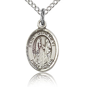 Sterling Silver 1/2in St Genevieve Charm & 18in Chain