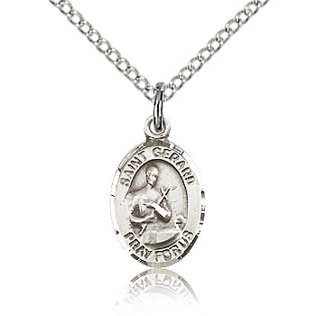 Sterling Silver 1/2in St Gerard Charm & 18in Chain