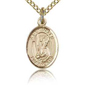 Gold Filled 1/2in St Helen Charm & 18in Chain