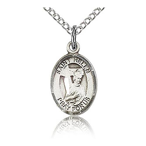 Sterling Silver 1/2in St Helen Charm & 18in Chain