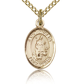 Gold Filled 1/2in St Hubert Charm & 18in Chain