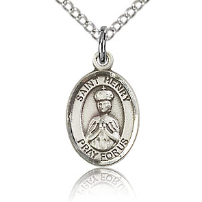 Sterling Silver 1/2in St Henry II Charm & 18in Chain